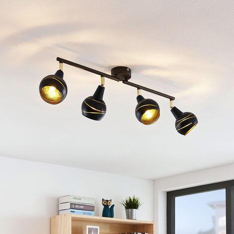 Lámpara de techo Lynette negro-oro 4 luces larga