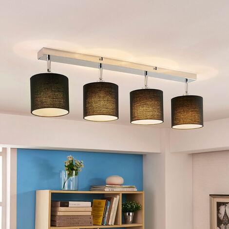Lámpara de techo Mairi con pantallas negras y LED