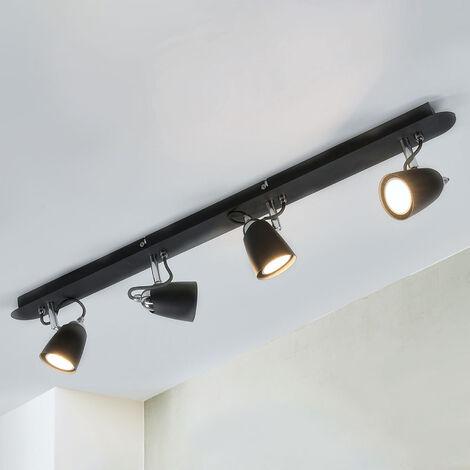 Lámpara de techo Marko con 4 focos, en color negro
