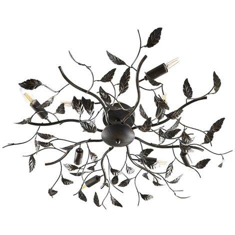 Lámpara de techo metálica Yos decorada con hojas
