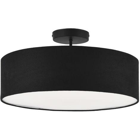 Lámpara de techo - Missouri 30 x 45 cm Diseño - Luz - Interior - Soporte Cuadrado - Plástico - Efecto Textil - Negro / Blanco