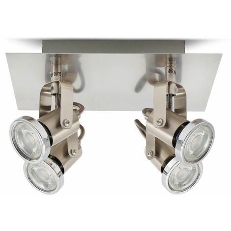 Lámpara de techo moderna I Orientables GU10 I 4 Focos I Incl. 4 bombillas de 5 W I Plafón I Spotlight