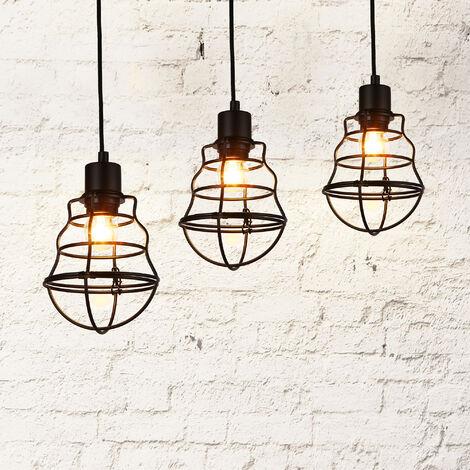 Lámpara de techo moderna negro metal look-industrial [1 x base E27] longitud 140cm