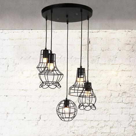 Lámpara De Techo moderna negro metal vintage Design [base E27] longitud 105cm - 5 quemadores