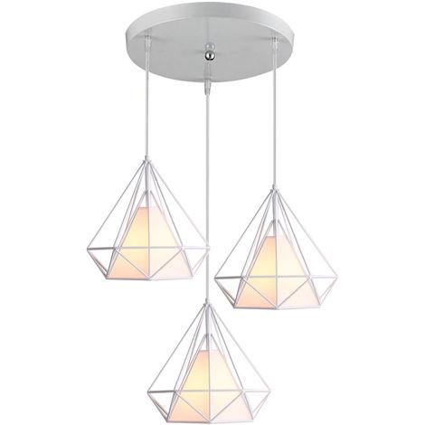 Lampara de Techo Moderno 3 Cabeza Diamante Disco Luz Colgante Cage Pájaro Grupo de 3 Vías Jaula de Hierro Metal Decoracion de Comedor Cocina Sala (Blanco)