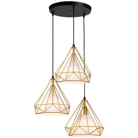 Lampara de Techo Moderno 3 Cabeza Diamante Disco Luz Colgante Cage Pájaro Grupo de 3 Vías Jaula de Hierro Metal Decoracion de Comedor Cocina Sala(Oro)
