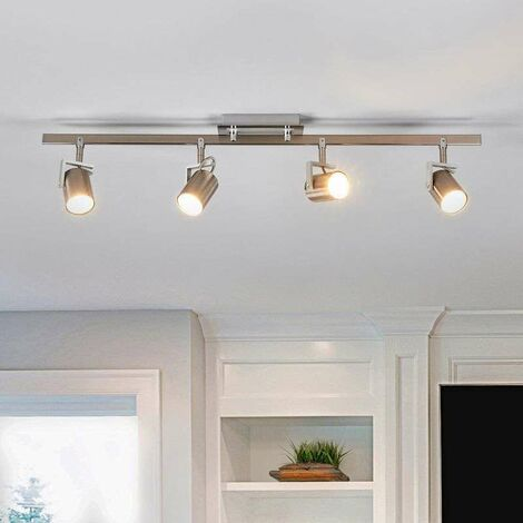 Lámpara de techo Morea de 4 brazos níquel satinado