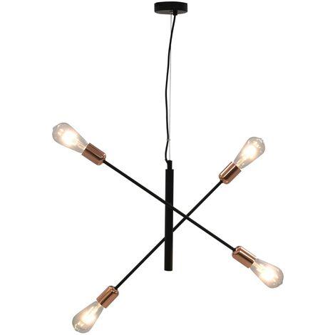 Lámpara de techo negro y cobre E27