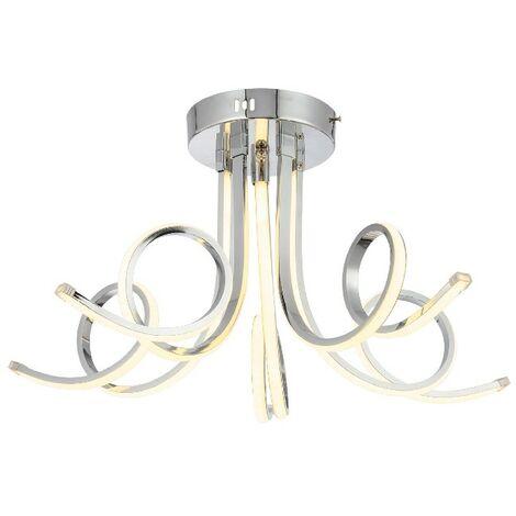 Lampara de Techo Nevro - Luz de techo - de la pared - Cromo en Metal, Cristal, 60 x 60 x 33 cm, 5 x LED, 16W, 4260LM, 3000K
