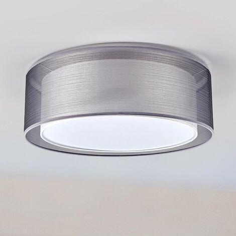 Lámpara de techo Nica doble pantalla de tela, gris