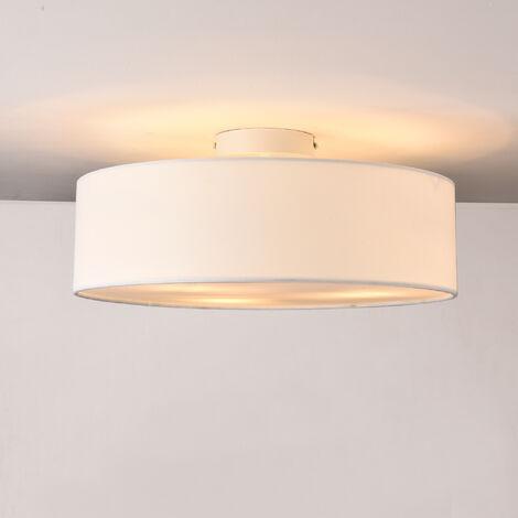 Lámpara de techo Omaha - Lámpara de plafón Redonda - 3xE27 - Altura 17cm - Diámetro 45 cm - Luz Interior - Luz para Cocina - Dormitorio - Salón - Baño - Organza - Blanco
