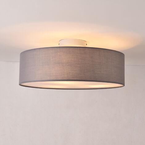 Lámpara de techo Omaha - Lámpara de plafón Redonda - 3xE27 - Altura 17cm - Diámetro 45 cm - Luz Interior - Luz para Cocina - Dormitorio - Salón - Baño - Organza - Gris