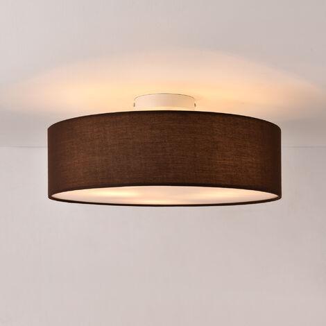 Lámpara de techo Omaha - Lámpara de plafón Redonda - 3xE27 - Altura 17cm - Diámetro 45 cm - Luz Interior - Luz para Cocina - Dormitorio - Salón - Baño - Organza - Marrón
