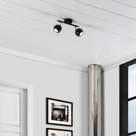 Lámpara de Techo Orientable Ates 2 Focos Negro Negro