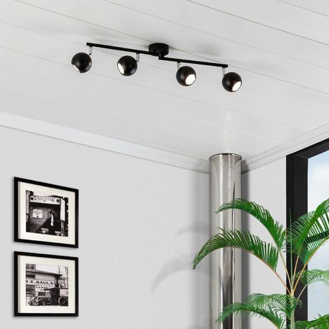 Lámpara de Techo Orientable Ates 4 Focos Negro Negro