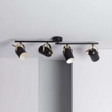 Lámpara de Techo Orientable Cano 4 Focos Negro Negro