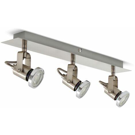 Lámpara de techo orientable con 3 focos I incl. 3 bombillas de 5 W I Focos flexibles I Plafón moderna para salón I GU10