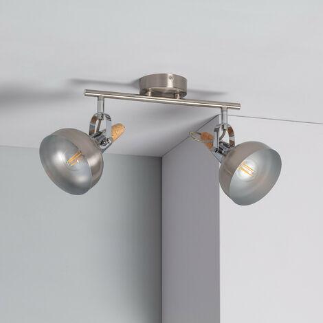 Lámpara de Techo Orientable Emer 2 Focos Plata PlataPlata
