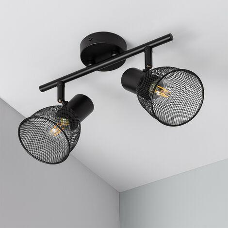 Lámpara de Techo Orientable Grid 2 Focos Negro - Negro