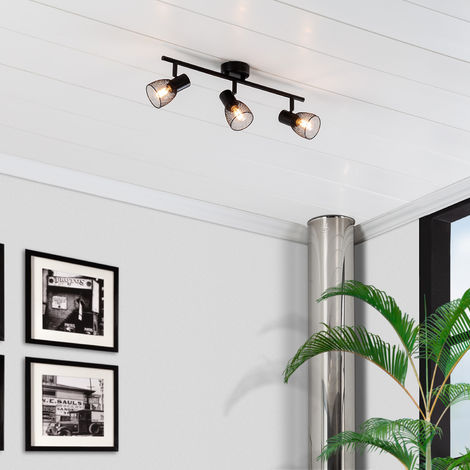 Lámpara de Techo Orientable Grid 3 Focos Negro Negro