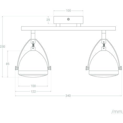 Lámpara de Techo Orientable Izga 2 Focos Plata PlataPlata