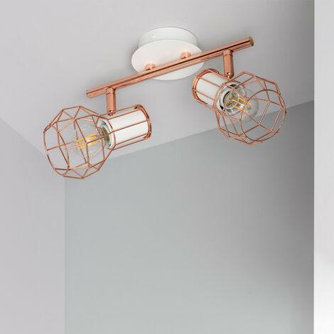Lámpara de Techo Orientable Lada 2 Focos Blanco Cobre AluminioAluminio
