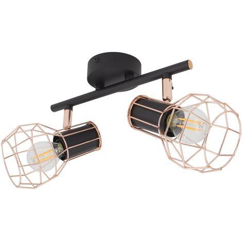 Lámpara de Techo Orientable Lada 2 Focos Negro Cobre Negro