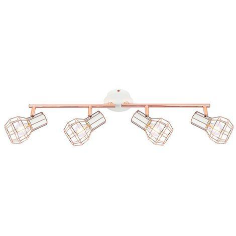 Lámpara de Techo Orientable Lada 4 Focos Blanco Cobre AluminioAluminio