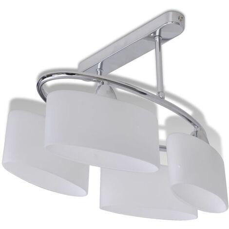 Lámpara de techo pantalla cristal elipse 4 bombillas E14