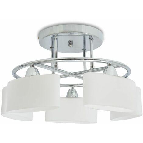 Lampara de techo pantalla cristal elipse 5 bombillas E14 200 W
