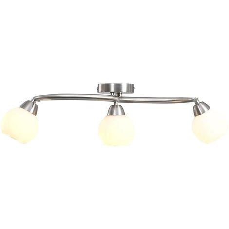 Lampara de techo pantallas ceramica bol blanco 3 bombillas E14