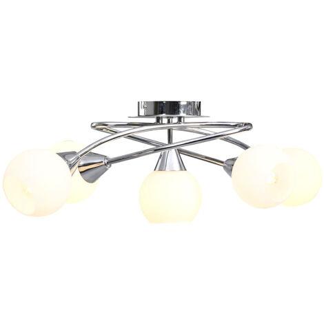 Lampara de techo pantallas ceramica bol blanco 5 bombillas E14