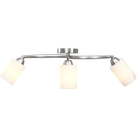 Lampara de techo pantallas ceramica cono blanco 3 bombillas E14