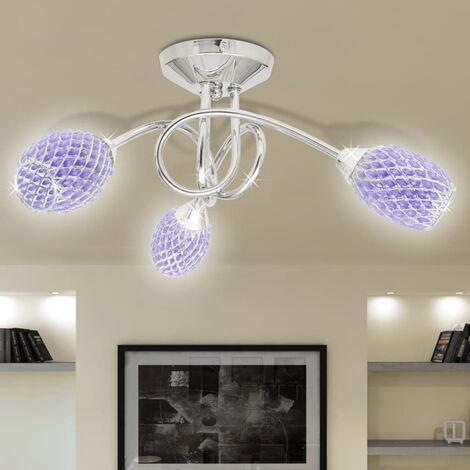 Lámpara de techo con tres focos ovales de cristal acrílico morado, G9