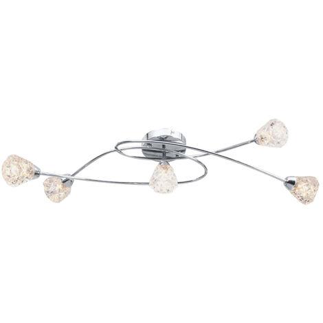 Lampara de techo pantallas de cristal entramadas 5 bombillas G9
