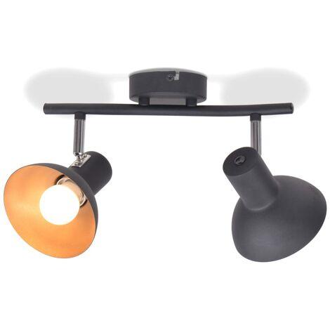 Lámpara de techo para 2 bombillas E27 negra y dorada