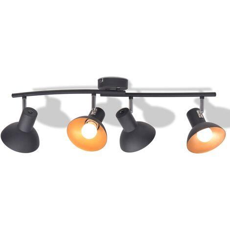 Lámpara de techo para 4 bombillas E27 negra y dorada