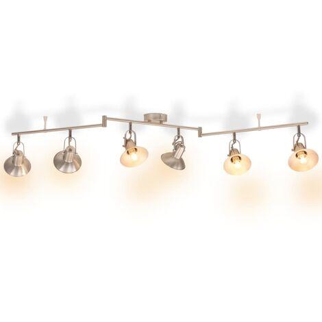 Lámpara de techo para 6 bombillas E14 plateada