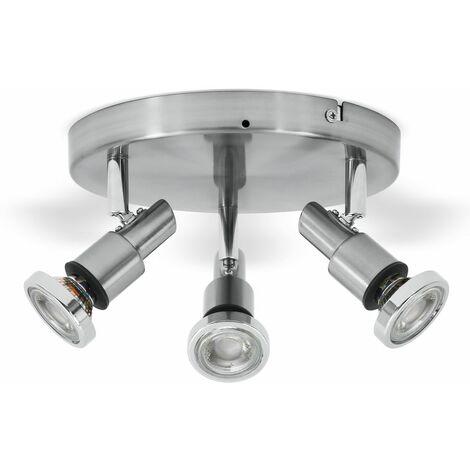 Lámpara de techo para baño incl. 3x5W bombillas LED IP44 230V, Focos Orientables GU10, color cromo, luz blanca cálida 3000K