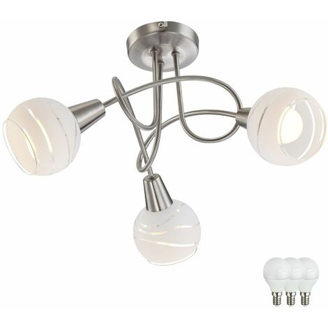 Lámpara de techo para comedor, lámpara redonda, foco de cocina, plateado, en un juego que incluye bombillas LED