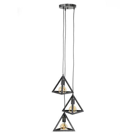 Lámpara de techo pirámide 3 bombillas metal envejecido LOUVRE
