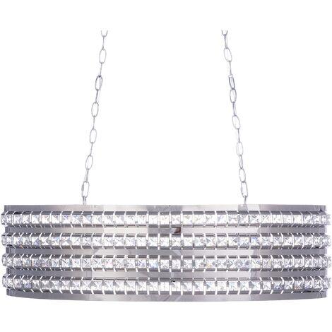 Lámpara de techo plata y cristal CAVONE