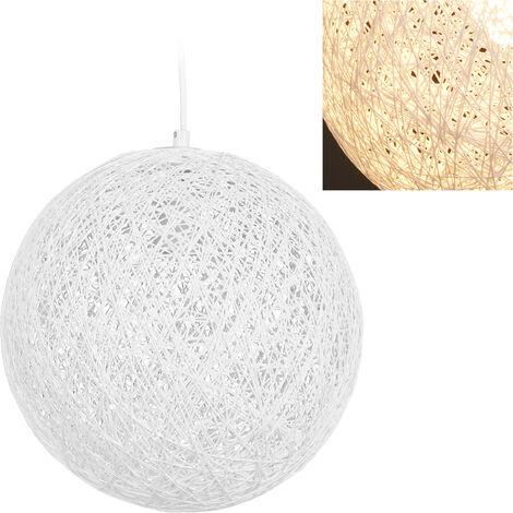 Lámpara de techo, Ratán, Dormitorio & Salón, E27, 60W, Un foco, Colgante, 145 x 28,5 cm, Blanco