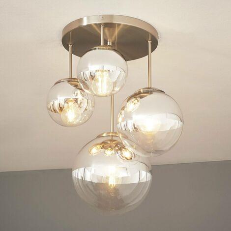 Lámpara de techo Ravena con esferas, 4 brazos