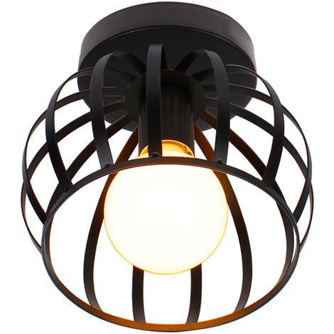 Lámpara de Techo Redonda Industrial Retro Lámpara de Araña para Dormitorio Cafe bar Negro E27