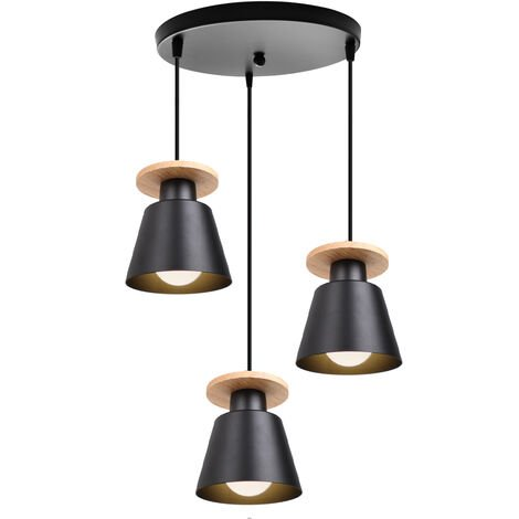 Lámpara de Techo Retro Colgante de Luz de Metal Negro Moderno 3 Cabezas Luz Colgante de Estilo Nórdico Base E27, Fácil de Instalar