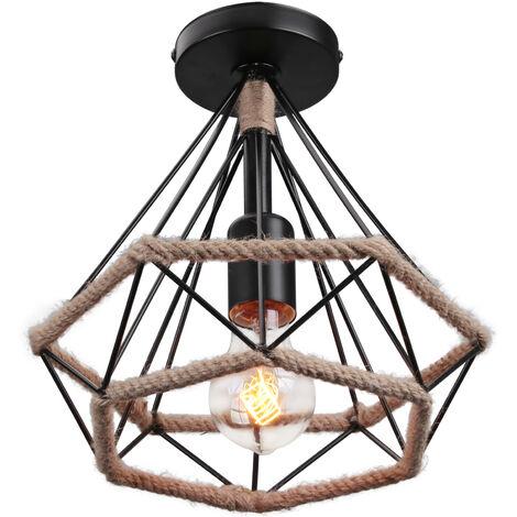 Lámpara de Techo Retro Lámpara de Techo Industrial Vintage Jaula en Forma de Diamante de 25 cm Cuerda de Cáñamo Lámpara de Araña Hierro Lámpara de Metal para Sala de Estar Dormitorio Decorar Hogar
