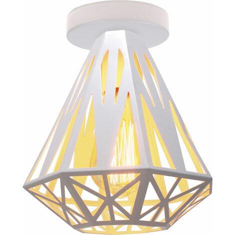 Lámpara de Techo Retro Moderna, Lámpara de Techo de Diamante Creativa, Lámpara de Araña de Metal Industrial, Zócalo E27, Pantalla de Lámpara de Hierro, Blanco Ø20cm