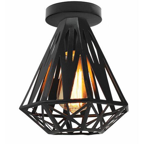 Lámpara de Techo Retro Moderna, Lámpara de Techo de Diamante Creativa, Lámpara de Araña de Metal Industrial, Zócalo E27, Pantalla de Lámpara de Hierro, Negro Ø20cm