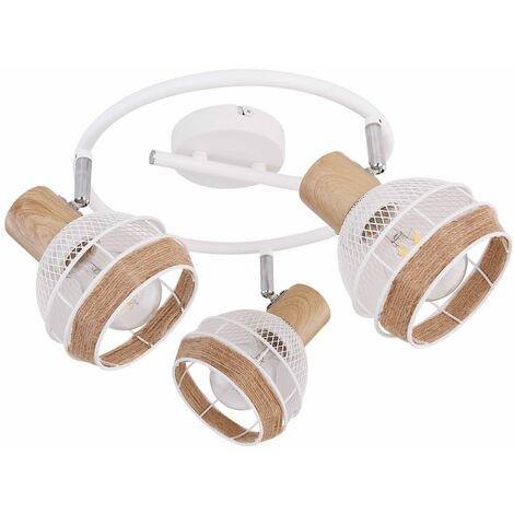 Lámpara de techo retro óptica de madera FILAMENTO salón Rondell Spots movibles en un conjunto que incluye lámparas LED